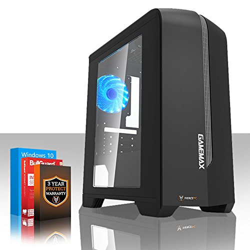 Fierce EXILE Gaming PC Desktop Computer - Fast 3.8GHz Quad-Core AMD Athlon X4 845, 1TB Hard Drive, 8GB of 1600MHz DDR3 RAM / Memory, NVIDIA GeForce GTX 1050 Ti 4GB, Gigabyte F2A78M-HD2 Motherboard, GameMax Centauri Black Case/Blue Fans, HDMI, USB3, Wi - Fi, Perfect for Competitive Gaming, Windows 10 Installed, 3 Year Warranty 411924