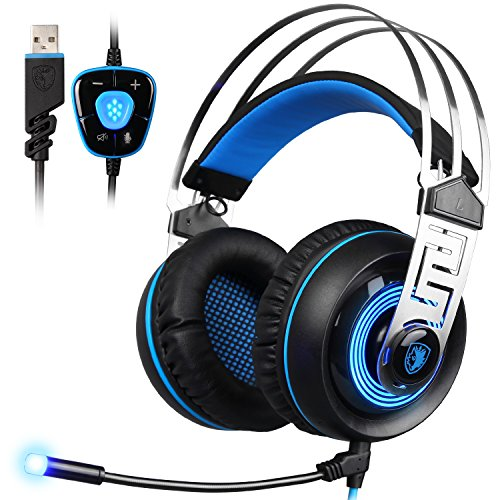 Sades A7 7.1 USB-Gaming-Headset mit Mikrofon, Virtual Surround Sound, Intelligente Geräuschunterdrückung, Gaming-Kopfhörer mit LED-Licht für Laptop/PC/Mac, schwarz & blau