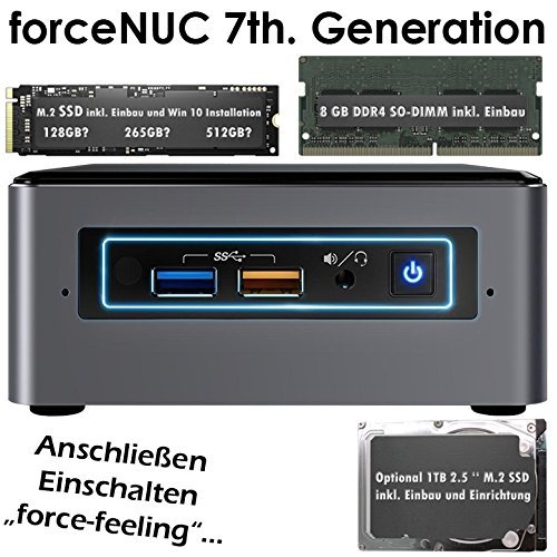 forceNUC | Intel-NUC7i7BNH | Intel Core i7-7567U | 8GB DDR4 | 256 GB SSD M.2 | Intel Iris Plus 650 Grafik | 7.1 Sound | LAN | Win 10 Pro | Mini-PC | VESA-Monitor-Halterung | HDMI 2.0 4K 60Hz