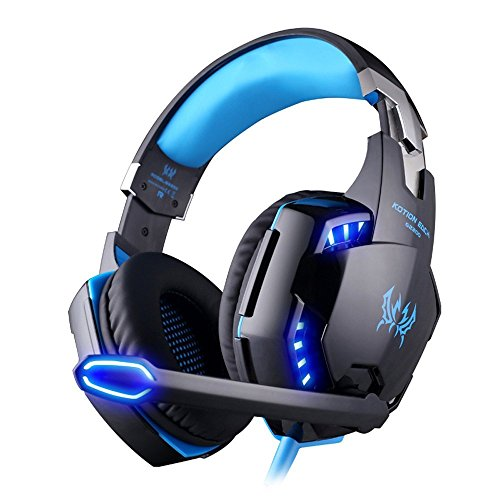 VersionTech Virtual 7.1 Surround Sound USB Gaming Headset Zirka 2,20m Kabellänge PC Komfort Gamingheadset mit Mikrofon Noise Reduction für Pro Gamer (Blau)