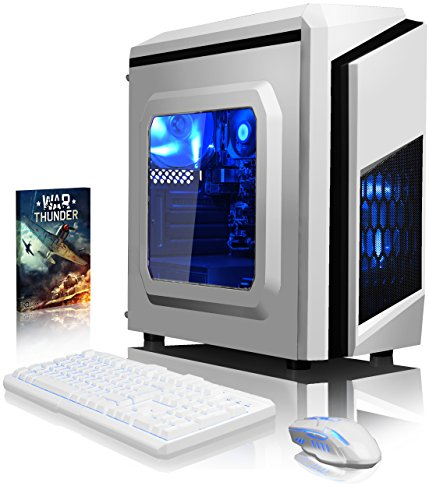 VIBOX Gaming PC - Pyro SA4-251 - 3.9GHz AMD A4 Dual Core APU, Desktop Computer with Game Bundle, Blue Internal Lighting and Lifetime Warranty* (Super Fast AMD A4-6300 Dual 2-Core APU/CPU Processor, 8GB DDR3 1600MHz High Speed RAM Memory, 1TB (1000GB) Sata III 7200rpm Hard Drive HDD, 85+ Rated PSU Power Supply, CIT F3 White Gaming Case, FM2+ Motherboard, DVD-RW, No Operating System Installed)