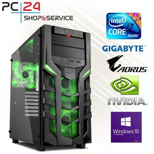 PC24 GAMING PC | INTEL i7-8700K @6x4,50GHz | nVidia GF GTX 1070 mit 8GB RAM | 16GB DDR4 PC2133 RAM | GA Z370 AORUS Ultra Gaming Mainboard | 600Watt 80+ ATX Netzteil | Windows 10 Pro | i7 Gamer PC