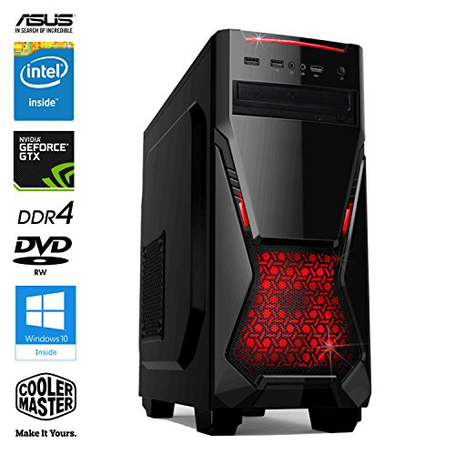 SNOGARD GAMER PC - Desktop Gaming PC (Intel Pentium G4560 3.5GHz, NVIDIA GTX 1050 Ti 4GB, 16GB DDR4 RAM, 1TB 7200RPM HDD, 240GB SSD, Windows 10 Professional), Black/Red