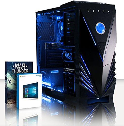 VIBOX Advance 9 Gaming PC - 4,2GHz AMD 8-Core Prozessor, GTX 1050 Ti GPU, Super, Multimedia, Hochleistung, Pascal, Desktop Gamer Computer mit Spielgutschein, Windows 10, Blau Innenbeleuchtung, lebenslange Garantie* (3,3GHz (4,2GHz Turbo) Superschneller AMD FX 8300 Octa-Core Prozessor CPU, Nvidia GeForce GTX 1050 Ti 4GB Grafikkarte GPU, 16GB DDR3 1600MHz RAM, 2TB (2000GB) SATA III 7200rpm Festplatte, 85+ Netzteil, Vibox Tactician blaues Gaming Gehäuse, AM3+ Mainboard)