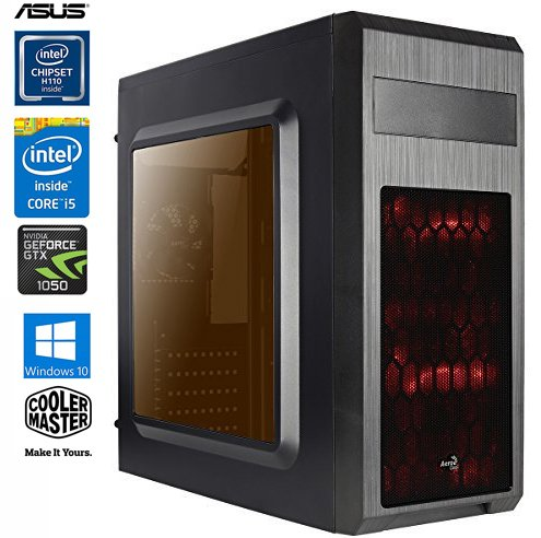 SNOGARD GAMER PC - Desktop Gaming PC (Intel Core i5-7500 4x3400Mhz, NVIDIA GTX 1050 Ti 4GB, 16GB DDR4 RAM, 1TB 7200RPM HDD, 240GB SSD, Windows 10 Professional), Black/Red