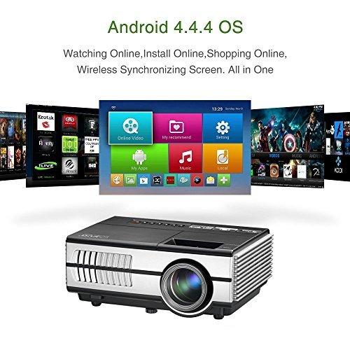 Android Beamer WIFI Projektor LED 1500 Lumen Video Projektor unterstütz 1080p / 720p mit HDMI VGA USB AUDIO Eingang für Smartphone PC Laptop PS4 Xbox, integrierte Lautsprecher