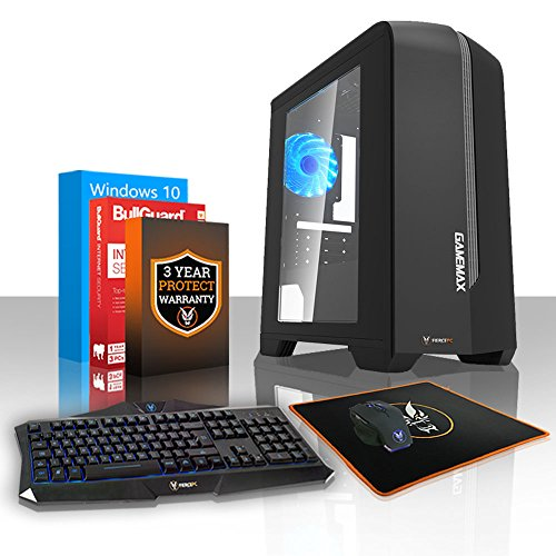 Fierce EXILE Gaming PC Desktop Computer Bundle - Fast 3.9GHz Dual-Core AMD A-Series 7400K, 1TB Hard Drive, 8GB of 1600MHz DDR3 RAM / Memory, AMD Radeon R5 Integrated Graphics, Gigabyte F2A78M-HD2 Motherboard, GameMax Centauri Black Case/Blue Fans, HDMI, USB3, Wi - Fi, Perfect entry into PC Gaming, Windows 10 Installed, Keyboard and Mouse, 3 Year Warranty 406345