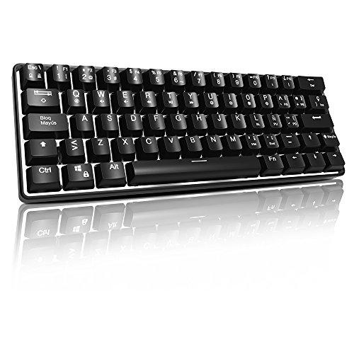 ACGAM AG6X mini mechanische USB Gaming Tastatur mit 61 Schlüssel US-Layout weiß Hintergrundbeleuchtung