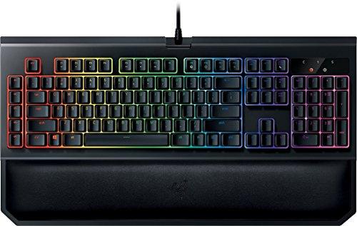 Razer Blackwidow Chroma V2 Lineare und Leise Mechanische Gaming Tastatur (Razer Yellow Switches, RGB Beleuchtet und voll programmbierbar mit 5 Macrotasten)