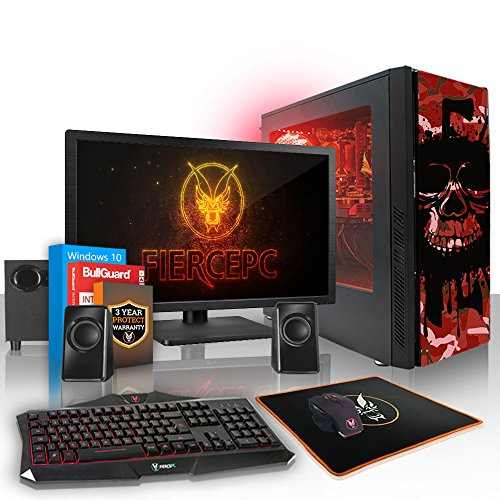 Fierce EXILE RGB Gaming PC Desktop Computer Bundle - Fast 3.8GHz Quad Core AMD Athlon X4 845 - 1TB Hard Drive - 16GB of 1600MHz DDR3 RAM / Memory - NVIDIA GeForce GTX 1050 Ti 4GB - HDMI, USB3, Wi-Fi - Perfect for competitive gaming - Windows 10 Installed - Keyboard and Mouse, 21.5-Inch Monitor, 2.1 Speakers - 3 Year Warranty - (413907)