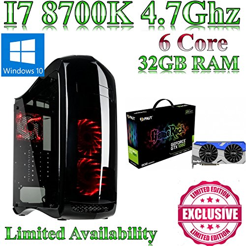 Windows 10 Intel Z370 I7 8700K, Gaming Home / Desktop PC, 32GB ram, 480GB SSD and 500GB HDD,8GB GTX 1080 GameRock, Liquid Cooled, Ultra Quiet PSU. Windows 10 This powerful Coffee Lake gaming pc comes with Intel I7 8700K, Gaming, 32GB ram and a 480GB SSD and a 500GB hard drive.8GB GTX 1080 GameRock & Gigabyte Z370 HD3 fitted into a Punisher Gaming Case from N C Gaming Ltd.