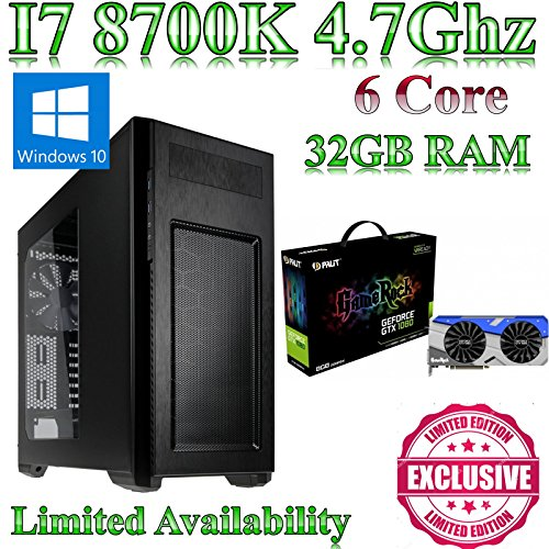 Windows 10 Intel Z370 I7 8700K, Gaming Home / Desktop PC, 32GB ram, 120GB SSD and 500GB HDD,8GB GTX 1080 GameRock, Liquid Cooled, Ultra Quiet PSU. Windows 10 This powerful Coffee Lake gaming pc comes with Intel I7 8700K, Gaming, 32GB ram and a 120GB SSD and a 500GB hard drive.8GB GTX 1080 GameRock & Gigabyte Z370 HD3 fitted into a Enthoo Gaming Case from N C Gaming Ltd.