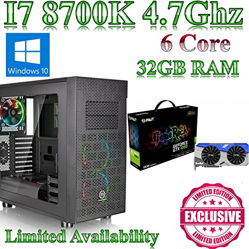 Windows 10 Intel Z370 I7 8700K, Gaming Home / Desktop PC, 32GB ram, 120GB SSD,8GB GTX 1080 GameRock, Liquid Cooled, Ultra Quiet PSU. Windows 10 This powerful Coffee Lake gaming pc comes with Intel I7 8700K, Gaming, 32GB ram and a 120GB solid state drive.8GB GTX 1080 GameRock & Gigabyte Z370 HD3 fitted into a X31 Gamer Case from N C Gaming Ltd.
