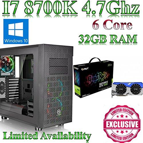 Windows 10 Intel Z370 I7 8700K, Gaming Home / Desktop PC, 32GB ram, 120GB SSD,8GB GTX 1080 GameRock, Liquid Cooled, Ultra Quiet PSU. Windows 10 This powerful Coffee Lake gaming pc comes with Intel I7 8700K, Gaming, 32GB ram and a 120GB solid state drive.8GB GTX 1080 GameRock & Gigabyte Z370 HD3 fitted into a X31 Gamer Case from N C Gaming Ltd.