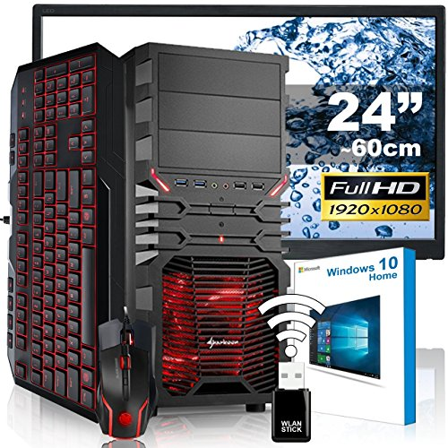 AGANDO Silent Gaming PC-Komplettpaket | Intel Core i5 7500 4x 3.4GHz | Turbo 3.8GHz | GeForce GTX1050 Ti 4GB | 8GB RAM | 1000GB HDD | DVD-RW | USB3.1 | 60cm (24
