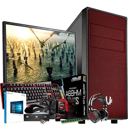 Computer Technology & ASUS Gaming System - AMD FM2 6300 3.7GHz CPU - 4GB DDR3 1600Mhz Memory - 2TB 2000GB Hard Drive Disk HDD - ASUS A68HM-Plus Motherboard - Built into a BitFenix Neos Red Case & Kolink 80+ Certified PSU - Complete with 24