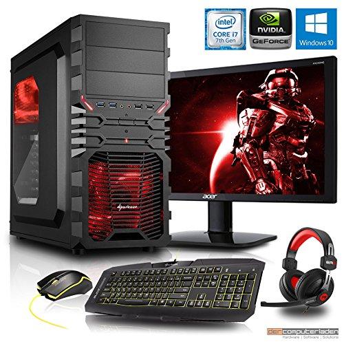 Gaming Komplett PC Set, i7-7700K 4x4.2 GHz, 24 Zoll TFT, Maus Tastatur Headset, 16GB DDR4, 2TB HDD, GTX1060 6GB, Windows 10 Spiele Computer zusammengestellt in Deutschland Desktop Rechner
