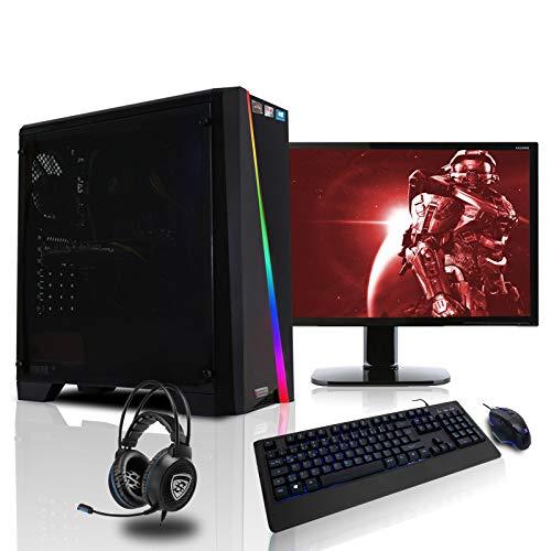 dercomputerladen Gaming Komplett PC Set RGB Cylon AMD Ryzen 3-3200G 4x3.6 GHz - 240GB SSD, 8GB DDR4, Vega 8, WLAN mit 22 Zoll TFT, Maus, Tastatur, Windows 10 Pro Spiele Computer Rechner