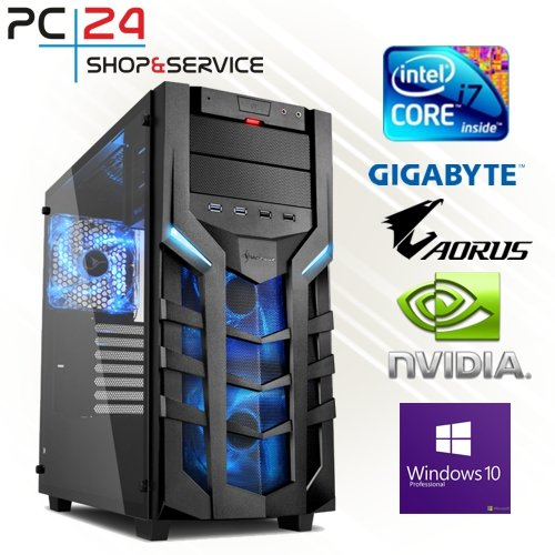 PC24 GAMING PC | INTEL i7-9700K @8x4,50GHz | 250GB M.2 970 EVO SSD | nVidia GF RTX 2070 mit 8GB RAM | 16GB DDR4 PC2666 RAM | Gigabyte Z390 Aorus Pro | 600Watt 80+ ATX Netzteil | Windows 10 Pro | i7 Gamer PC