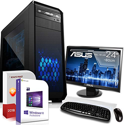 Multimedia Gaming PC mit Monitor AMD A10-8770 Pro 4x3.8GHz |ASUS Board|24 Zoll TFT|8GB DDR4|120GB SSD 1000GB HDD|Radeon R7 Series HDMI|DVD-RW|USB 3.0|SATA3|Sound|Windows 10 Pro|GigabitLan