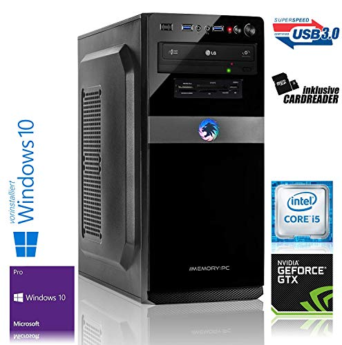 Memory PC Gaming PC Intel Core i5-9400F 6X 2.9 GHz, 16 GB, 120 GB SSD+1000 GB HDD, NVIDIA GTX 1660 SUPER 6GB, Windows 10 Pro 64bit