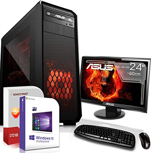 Gamer PC mit Monitor AMD FX-8100 8x2.8GHz |ASUS Board|24 Zoll TFT|16GB DDR3|1000GB HDD|Nvidia GT730 4GB HDMI|DVD-RW|USB 3.0|SATA3|Sound|Windows 10 Pro|GigabitLan|3 Jahre Garantie|Made in Germany|Mult