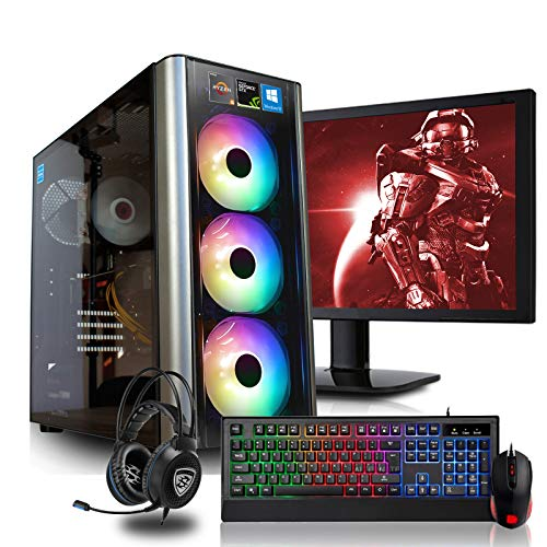 dercomputerladen Gaming Komplett PC Set RGB Level 20 AMD Ryzen 5-3600X 6x3.8 GHz - 240GB SSD & 1TB HDD, 16GB DDR4, GTX1660Ti 6GB, mit 24 Zoll TFT, Maus, Tastatur, Headset, WLAN, Windows 10 Pro